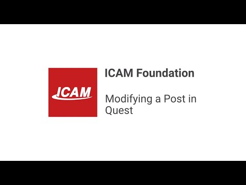Modifying a Post in QUEST Foundation