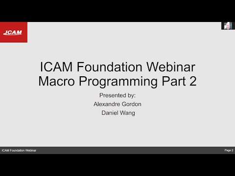 ICAM Foundation Webinar: How to use macro programming (part 2)