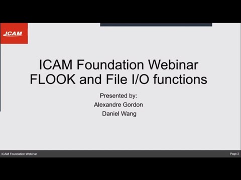 ICAM Foundation Webinar VII: Learn how to use FLOOK look-ahead function