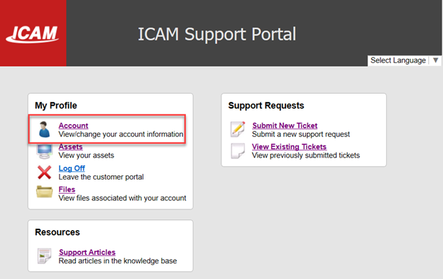 How do i update my account information ICAM