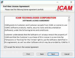 icam license install agreement